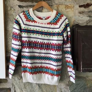 Old Navy Fair Isle White/Multicolor Sweater Sz XS